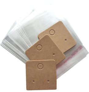 Jewellery Display Cards & Bags Earring Minis Studs Dangles Kraft Brown 4cm x 4cm