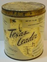 Vintage 1960s TEXAS LEADER GRAPHIC COFFEE TIN 1 1/2 POUNDS DALLAS HOUSTON TEXAS