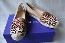 New Stuart Weitzman The Camping Espadrilles 9M Leopard Hair Calf Leather Tan