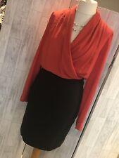 Mango Orange & Black Faux Wrap Top Dress, Black Fitted Skirt Med VGC