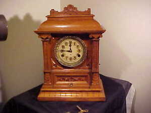 Rare C.1911 New Haven Bracket Clock, Canadian Willcock Patent Westminster Chime