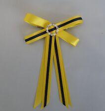 Junior Rider Equestrian Hair Ribbon Bow - Yellow & Navy Satin & Rhinestones