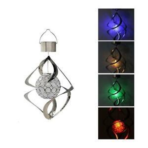 Solar Power LED Light Wind Spinner Chimes Garden Courtyard Hanging Lamps
