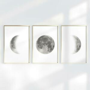 THE MOON Phases Wall Art Print Poster Space A4 A3 Bedroom New Home Grey