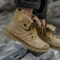 Men Army Outdoor Tactical Comfort Ankle Boots Casual Canvas Lace-up  Shoes