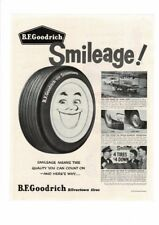 VINTAGE B. F. GOODRICH SMILEAGE TIRES SILVERTOWN FORD COUPE HUB CAPS AD PRINT