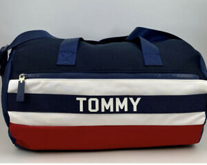 """Tommy Hilfiger Duffel Bag Gym Navy Blue, Red, White New Gift 17"""" long"""