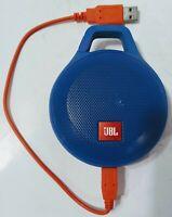JBL Clip+ Splashproof Portable Bluetooth Speaker BLUE w/cable TESTED WORKS
