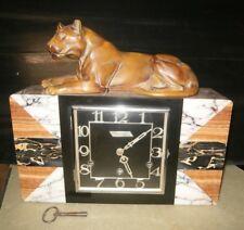 Belle pendule horloge Art déco lionne carillon marbre Spimont Melun