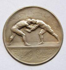 f805 1920's WRESTLING Championship Award Sport Naked Man Silvered Medal Huguenin