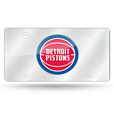 Detroit Pistons NBA Mirrored Laser Cut License Plate Laser Tag