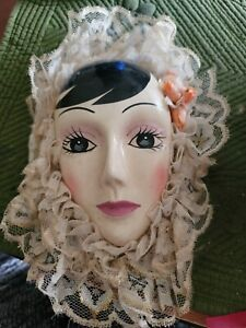 """1 Ceramic Face 4"""" Lady with ruffles"""