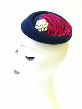 Navy Blue Hot Pink Black Feather Pillbox Hat Fascinator Races Vintage Hair 1310