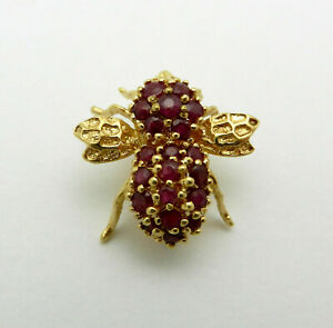 Vintage 14K Yellow Gold Ruby's 3D Bumblebee Bee Insect Flying Bug Pin Brooch