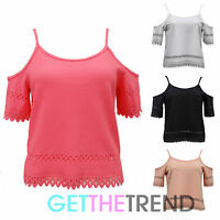 Womens Off Shoulder Strappy Spaghetti Top Ladies Cut Out 3/4 Sleeves Cropped Top