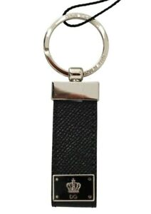 DOLCE & GABBANA Keyring Silver Brass Black Leather Crown Branded RRP $200