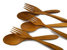 """7"""" TEAK WOODEN FORK AND SPOON SALAD TONG RARE HAND CRAFT WORK 6 PC /set"""
