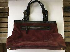 Coach Hamptons purple plum Suede Leather Trim  Carryall Tote Bag purse 7477