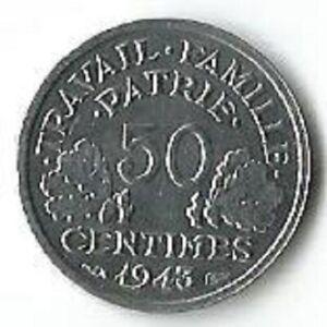 France 1943.50 centimes WW2 Coin. UNC ,Fantastic condition.