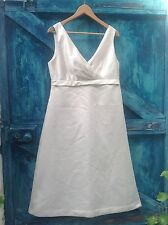 womens dress size 12 ivory satin empire line party cocktail wedding Alfred Sung