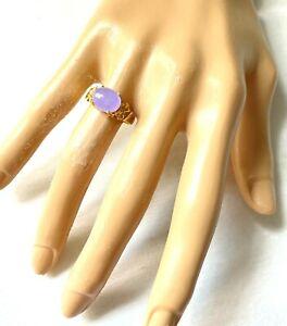 14k Gold Lavender Jade Ring EW Oval 3.5-ct Gem Floral Band Sz 7.75 Estate