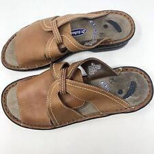 Dr Scholl's Size 6.5 Elsa Brown Leather Slip On Sandals Gel Pac