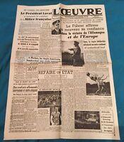 Journal L'œuvre 1 Er Février 1943 N 9867