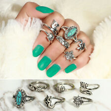 Womens Fashion Jewelry Gothic Punk Rings Gold Silver BOHO Knuckle Ring Set 6pcs