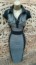 UK 16  Karen Millen Tweed Military Shirt Style Pencil Dress Office Work Evening