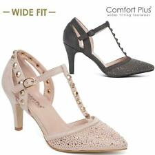 LADIES WOMENS HIGH HEEL WIDE FIT SUMMER DRESS HEELS PARTY STRAP COURT SHOES SIZE