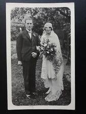 Mr & Mrs WEDDING PORTRAIT - Old RP Postcard - Unknown Location