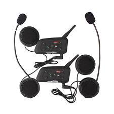 2x 1200M Moto Intercomunicador Interphone Casco Bluetooth Auriculares Interfono