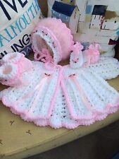 Hand Crochet Matinee Set Newborn Reborn Special Occasion Swansdown Trim