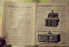 Brochures Publicitaire Cuisinières Cheminée Fourneaux Poële  1930