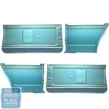 1966-66 GTO Coupe Dark Aqua Front and Rear Assembled Door Panels - Set