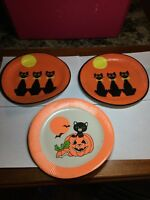 Vintage Halloween Lot Of 3 Paper Plates Black Cat Pumpkin