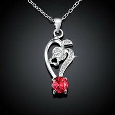 925sterling Sliver Filled Round Red CZ With Pave Crystal Flower Wedding Necklace