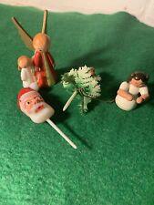 Vintage Lot Of 4 Tiny Christmas Angels, Santa And Christmas Tree 1950'S
