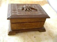 Vintage hand carved Wooden Jewelry/Trinket Box~from WENGEN~Swiss