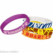 4 Jungle Animals Party Children's Party Favours Gifts Rubber Bracelets