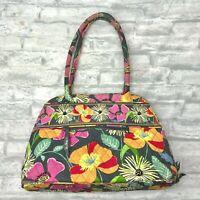 VERA BRADLEY Jazzy Blooms Bowler Shoulder Bag Satchel Purse Zip Around Large