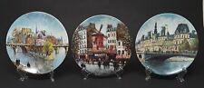 Lot of 3 Louis Dali Limoges France Porcelain Collector Plates Paris scenes Coas