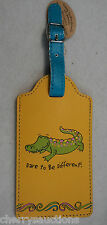 q CROCODILE ALLIGATOR dare to be different LUGGAGE TAG suitcase ID vegan leather