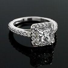 2.09 CT E/SI1 PRINCESS CUT DIAMOND HALO ENGAGEMENT RING 14K WHITE GOLD ENHANCED
