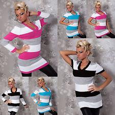 Pullover Strick-Pulli gestreift V-Ausschnitt Strickpulli Longpulli Mini-Kleid
