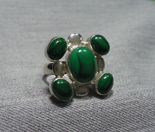 925 STERLING SILVER HEAVY GREEN MALACHITE CLUSTER RING (US 6.5  UK N )