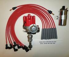FORD BB 351C-400-429-460 RED Female Small HEI Distributor + 45K Coil +PLUG WIRES
