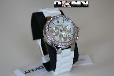 DKNY LADIES LUXURY CERAMIC PINK CRYSTALS COLLECTION WATCH NY8524