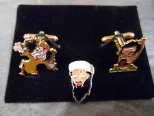 Dead Baddies of  2011 Cufflink + Lapelpin Sets, Osama, Saddam and Gadaffi