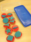 Foam Shapes Stamps on handles- set of 10- pattern block shapes plus more